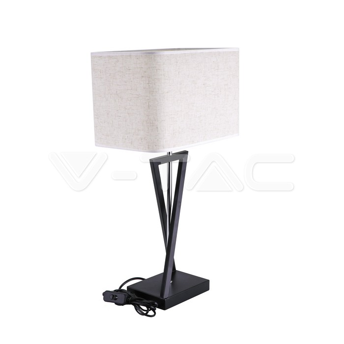 Designer Table Lamp E27 Ivory Shade, Black Square Base Table Lamp